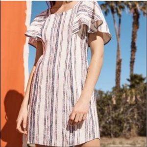 Anthropologie Jovanie Flutter Sleeve Striped Dress